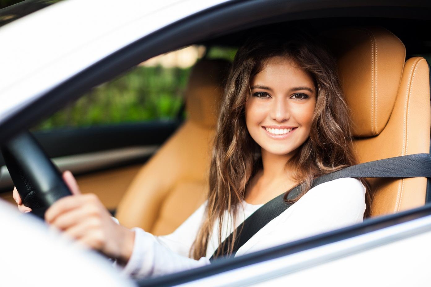 girl in car driving