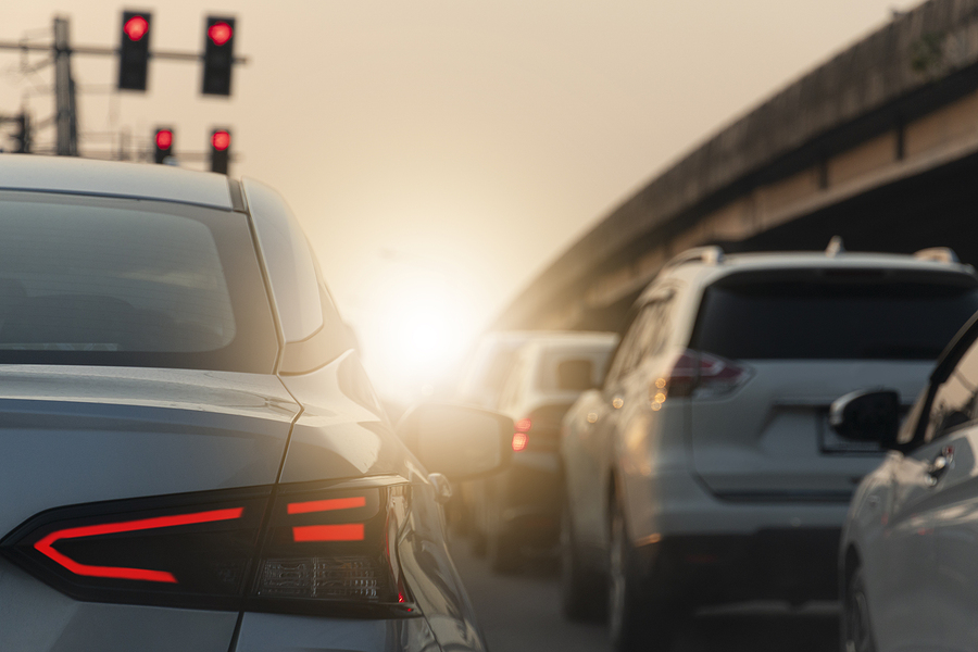 Cars driving in heavy traffic conditions