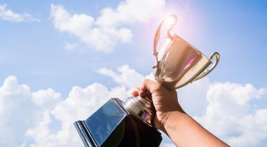 trophy in air