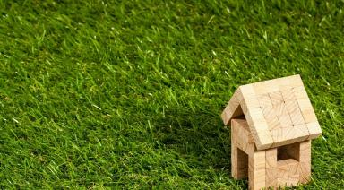 small wooden house on green grass