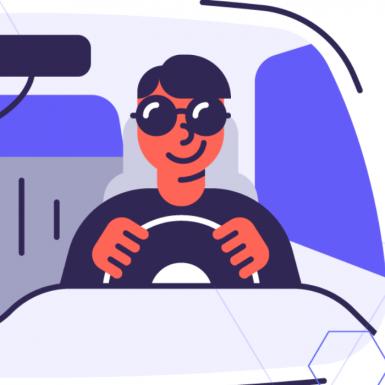 Cartoon image of man driving car