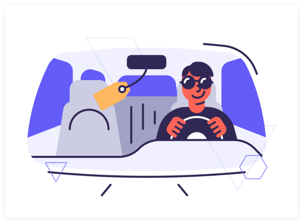 man driving in car surex illustration image